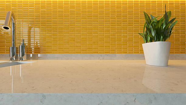 gelbe keramik moderne küche-design - küche deko grün stock-fotos und bilder