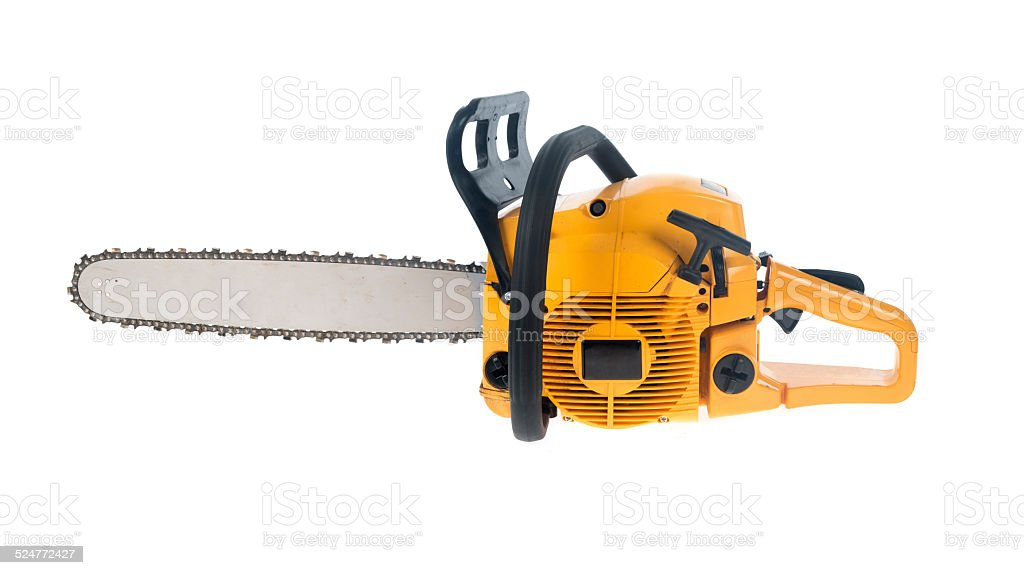 yellow chainsaw stock photo