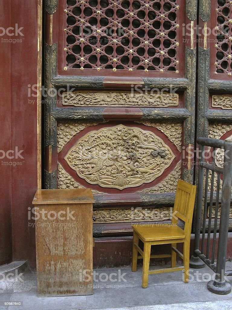 Yellow Chair in the Forbidden City royalty-free stock photo