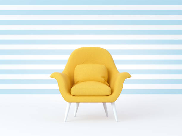 Yellow chair isolated on striped blue white background. Summer time, cheerful mood, joy, smiling, happiness. 3d render Yellow chair isolated on striped blue white background. Summer time, cheerful mood, joy, smiling, happiness. 3d render armchair stock pictures, royalty-free photos & images