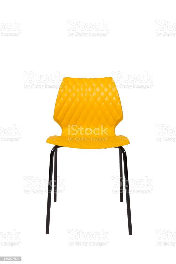 Gelbe Stuhl Isoliert Auf Weißer Hintergrund Stockfoto Und Mehr
