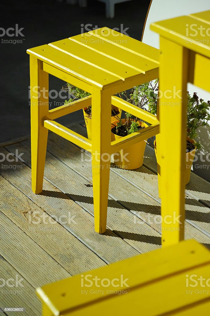 Yellow Chairs Composition Abstract Background stock photo