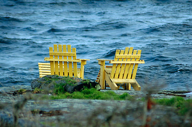 Yellow Chairs Oceanside stock photo