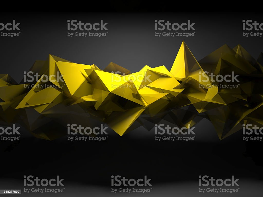 Yellow chaotic polygonal structure, 3d render stock photo