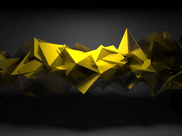 Amarillo caótica poligonal estructura, 3D Render - foto de stock