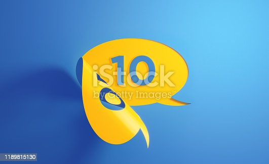 Yellow chat bubble with number ten on blue background. Number ten writes on the chat bubble. Horizontal composition with copy space.