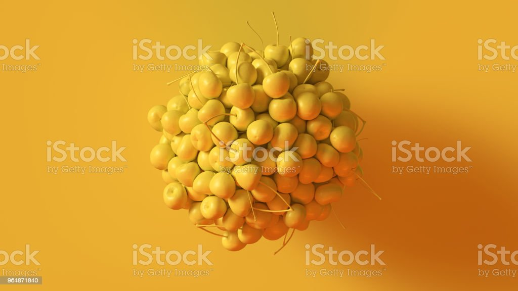Yellow Cherries Formed into a Sphere royalty-free stock photo
