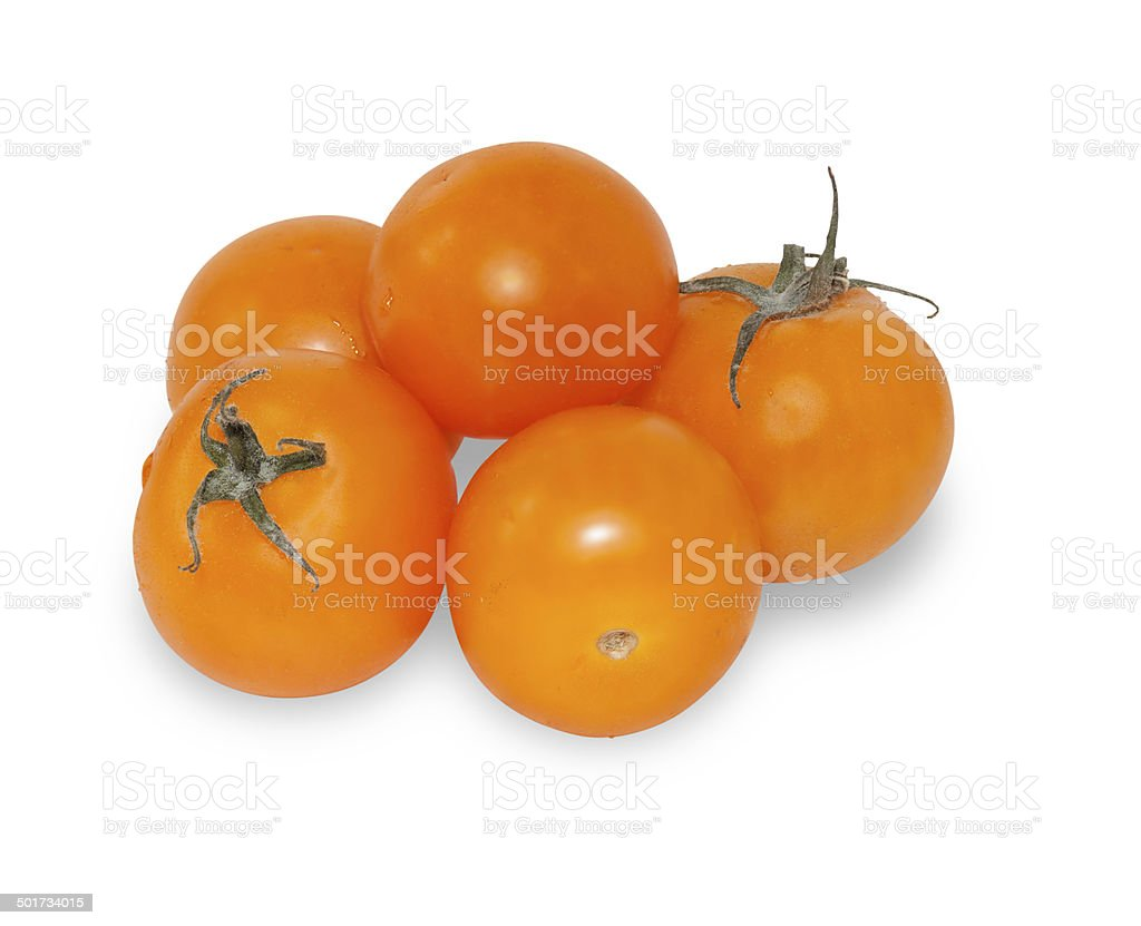 Yellow cherry tomato isolated stock photo