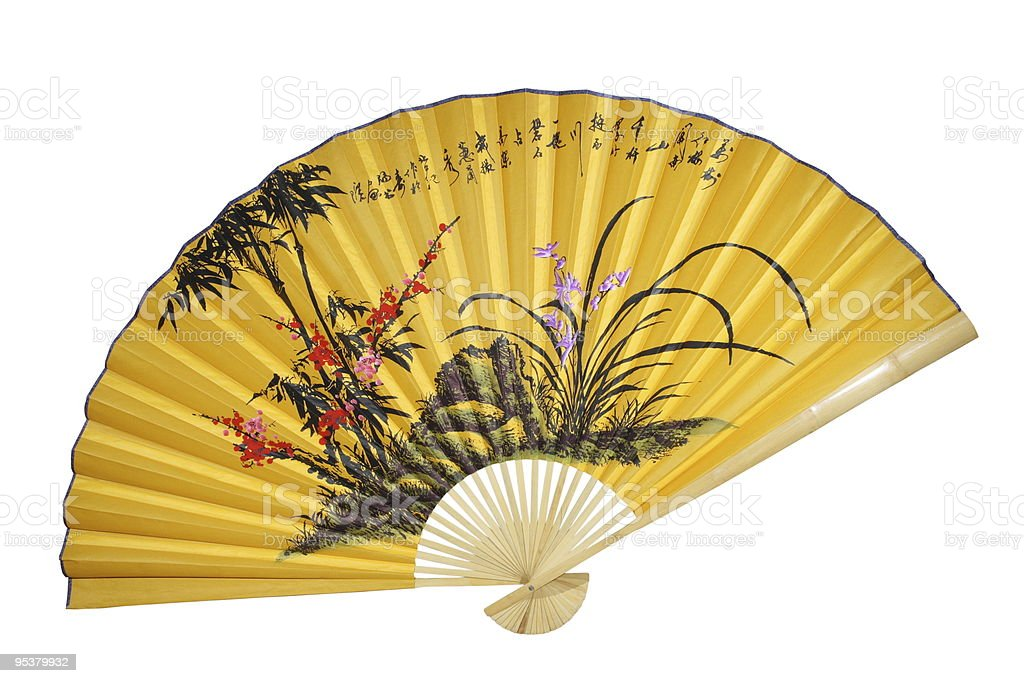 Yellow Chinese fan. (isolated) royalty-free stock photo