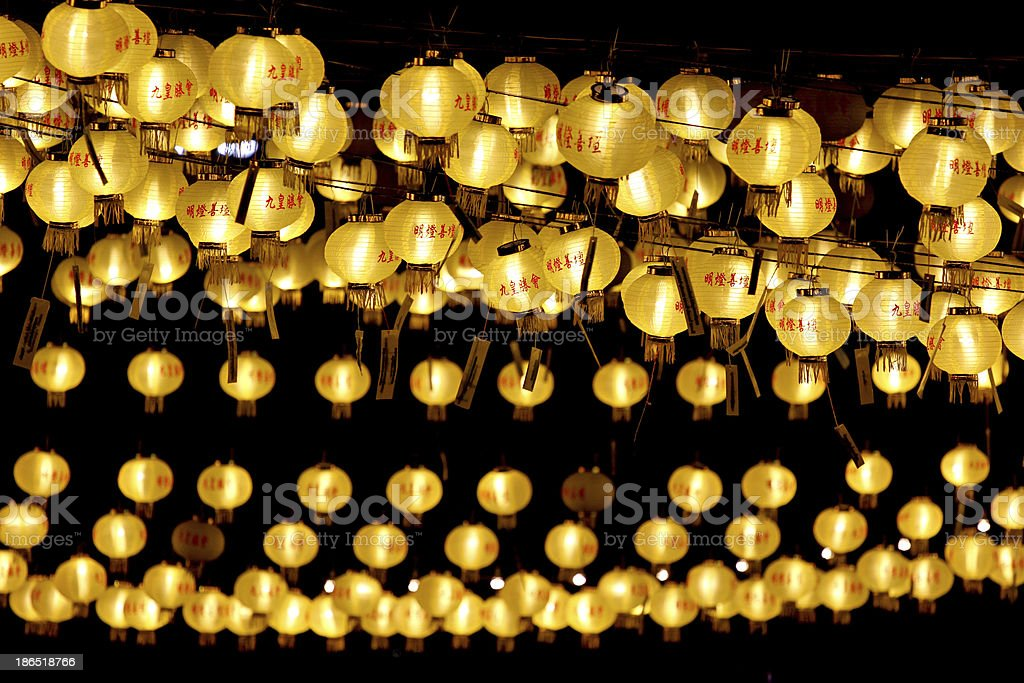 Yellow Chinese lanterns. royalty-free stock photo