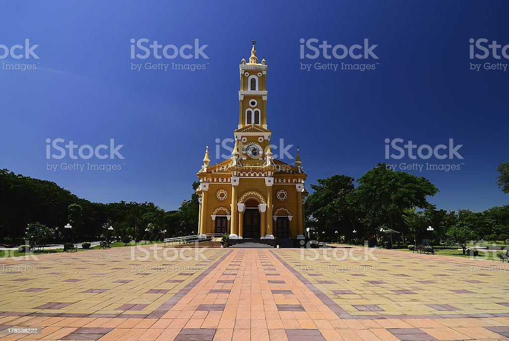 Yellow Christian Church in Ayutthaya, Thailand royalty-free stock photo