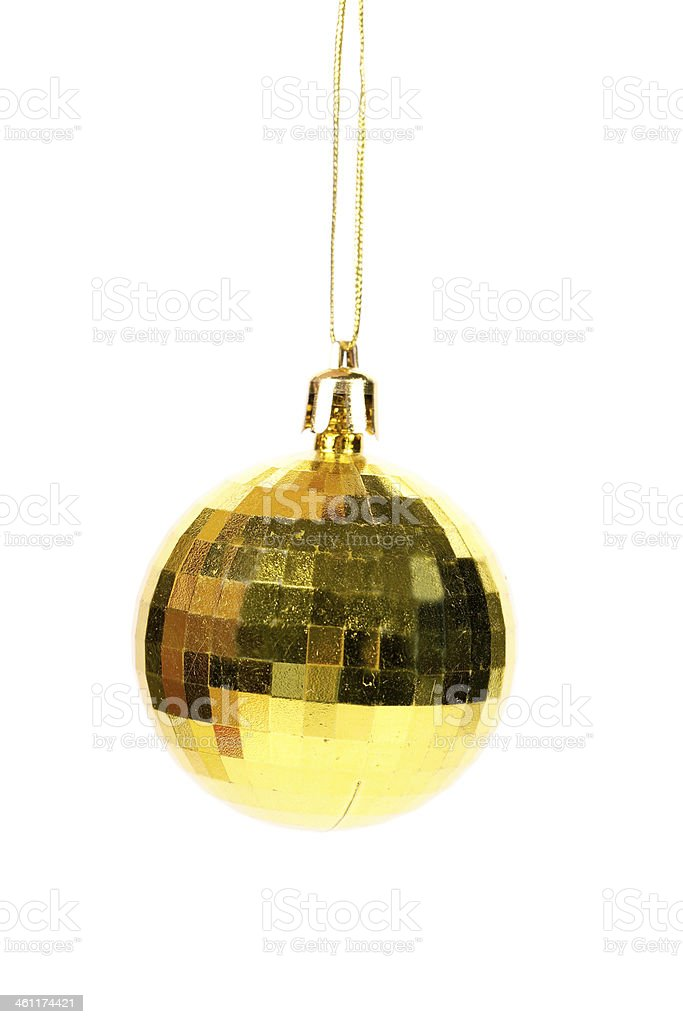 Yellow christmas ball. royalty-free stock photo