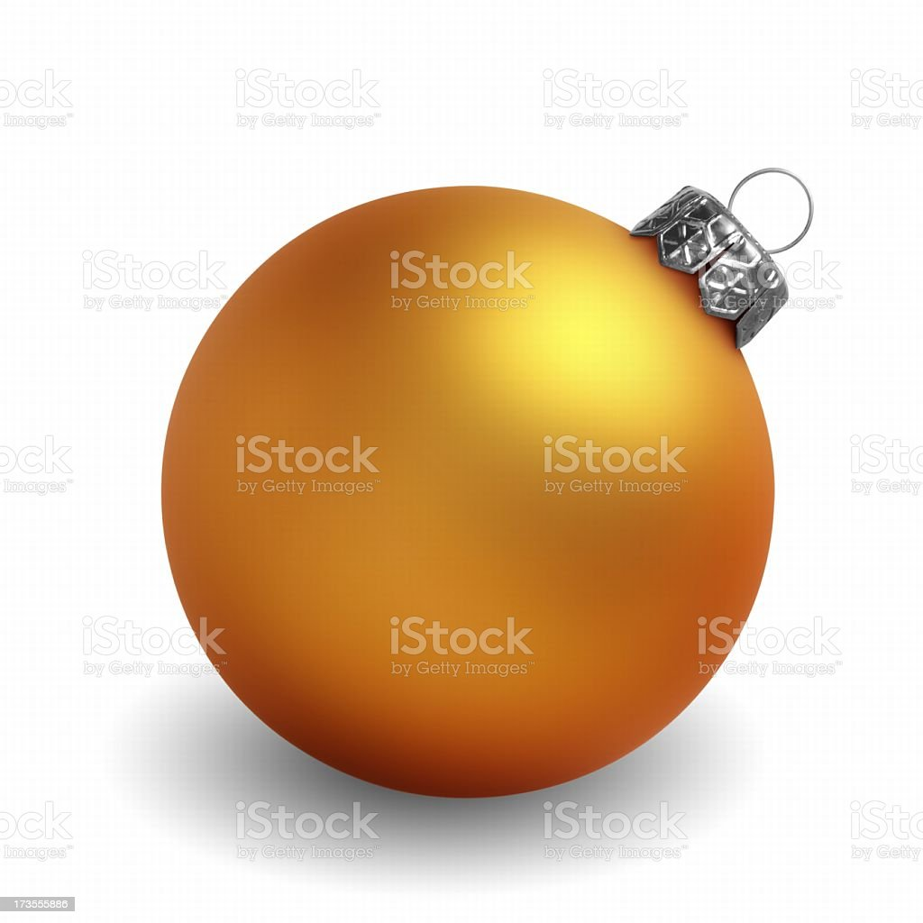 Yellow Christmas ornament against white background stock photo