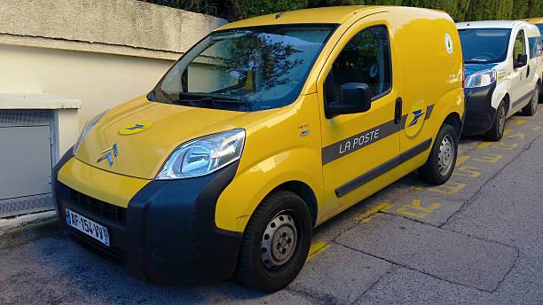 Yellow Citroen Nemo Combi La Poste Roquebrune-Cap-Martin, France - October 30 2015: Yellow Citroen Nemo Combi, Car of the French Post Service