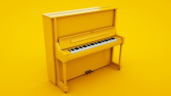 Yellow Classic Upright Piano. Minimal idea concept, 3d illustration