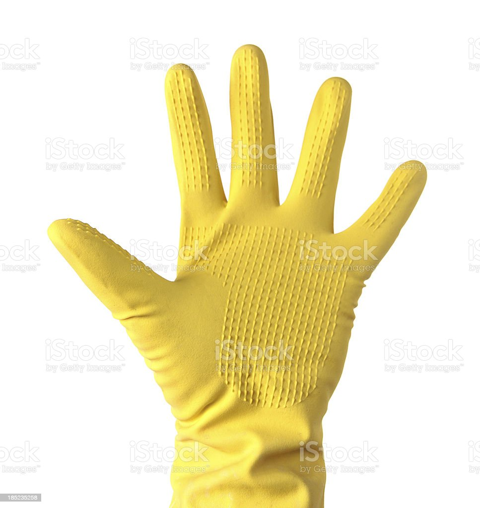 Yellow Cleaning glove on white stock photo