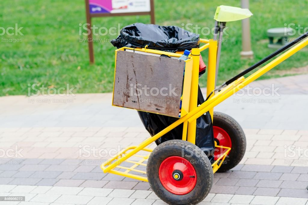 Yellow cleaning service trolley stock photo