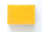 Yellow Cleaning Sponge on White