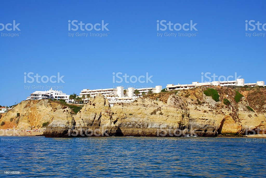 Yellow cliffs  Lagos in the Algarve Portugal royalty-free stock photo