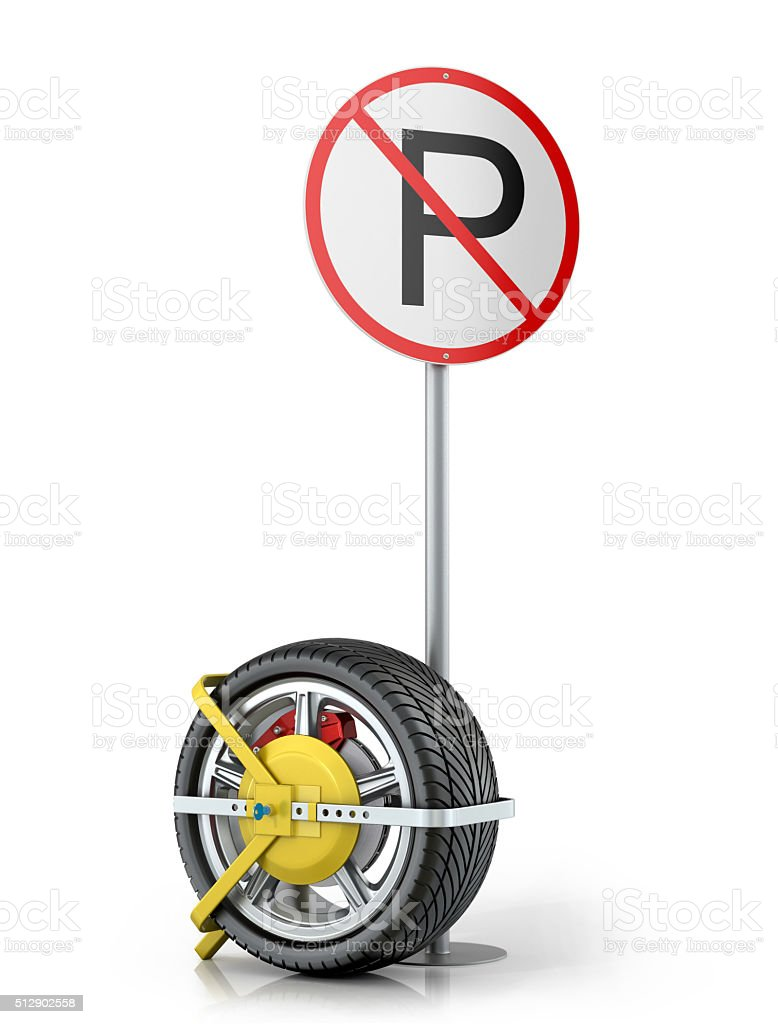 Yellow clip wheels with road sign stock photo