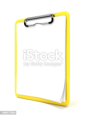 524051315istockphoto Yellow clipboard and blank paper. 3D render 498373064