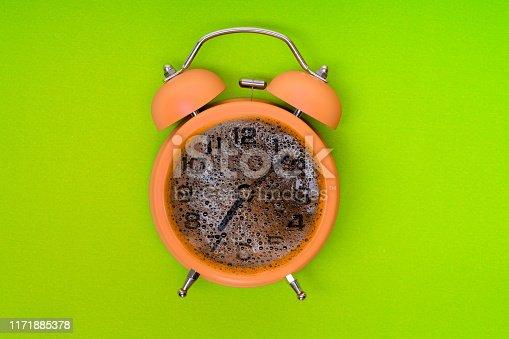 yellow alarm clock and coffee time