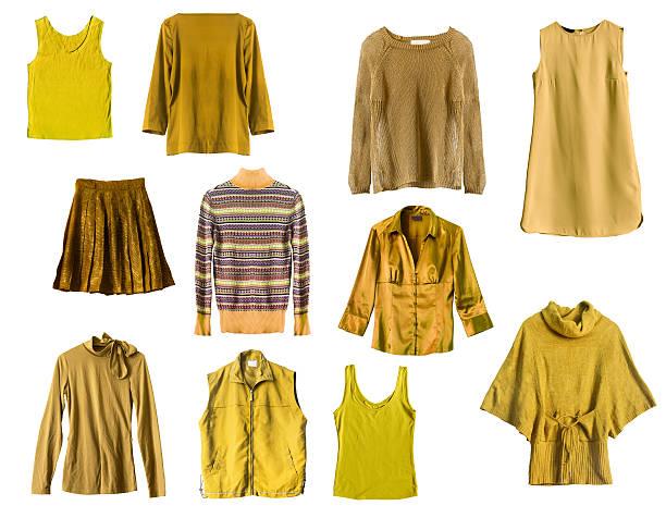 gelbe kleidung - damen top gold stock-fotos und bilder