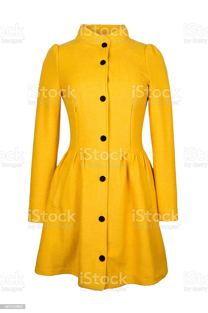 yellow coat on white background stock photo