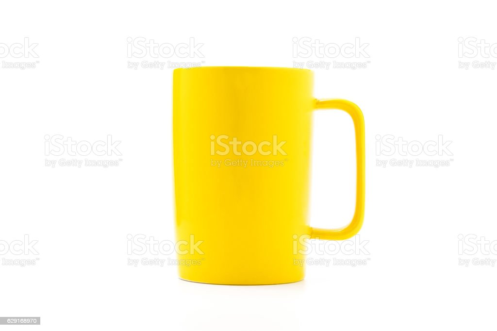 Yellow coffee cup stock photo