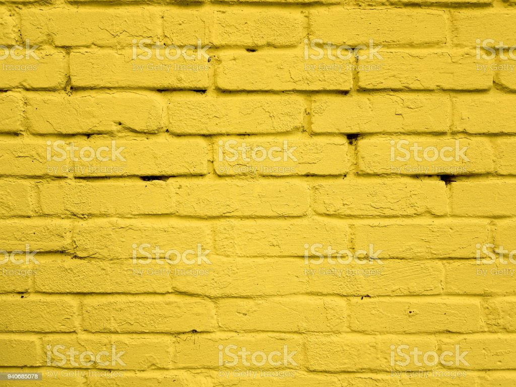 Yellow Color Brick Wall Texture Background Stock Photo & More ...