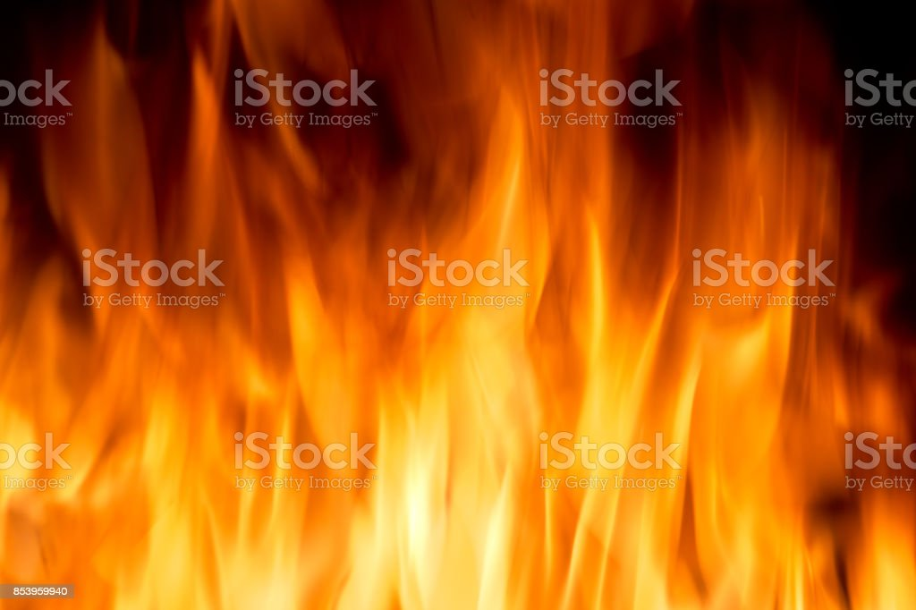 Yellow color burning fire frame stock photo
