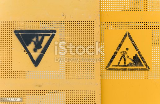 97709303 istock photo yellow color metal construction wall details view 1176352354