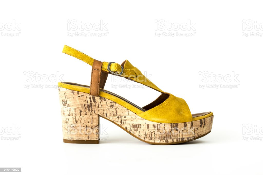 ae7d04091a9 Yellow color suede high heel summer shoe isolated white background  royalty-free stock photo