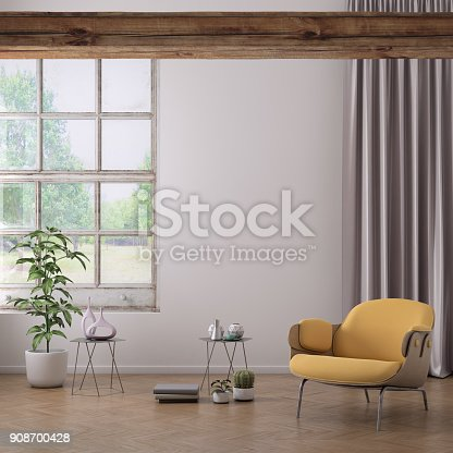 istock Yellow colored armchair with coffee table, flowers and blank wall template 908700428