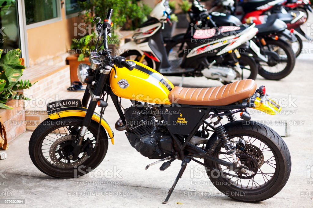 Yellow colored Stallions motorcycle royalty-free stock photo