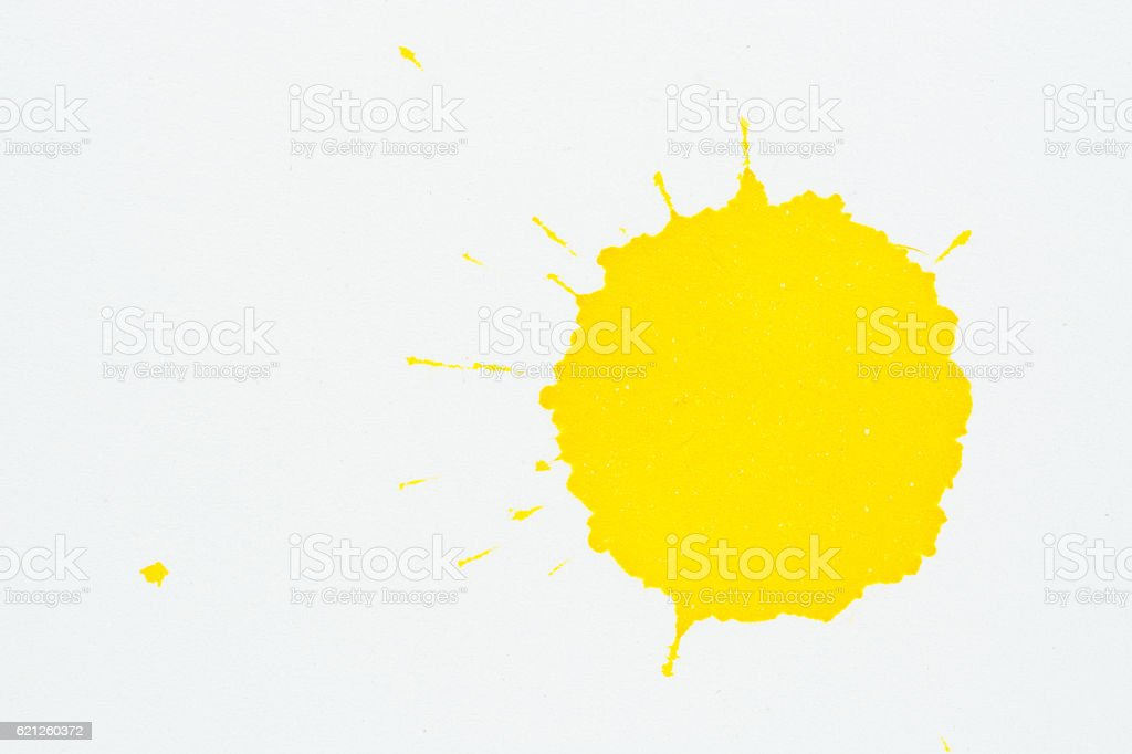 Yellow colorl ink water color  on white paper background - Photo