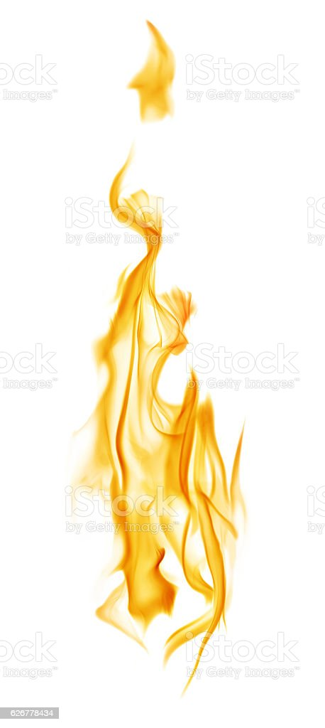 yellow column flame isolated on white stock photo