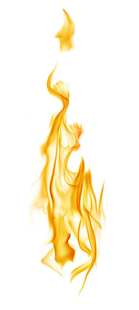 yellow column flame isolated on white - 火焰 個照片及圖片檔