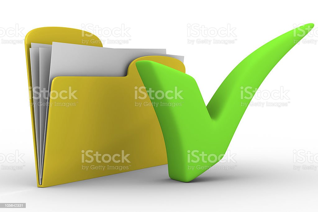 Yellow computer folder on white background. Isolated 3d image stock photo