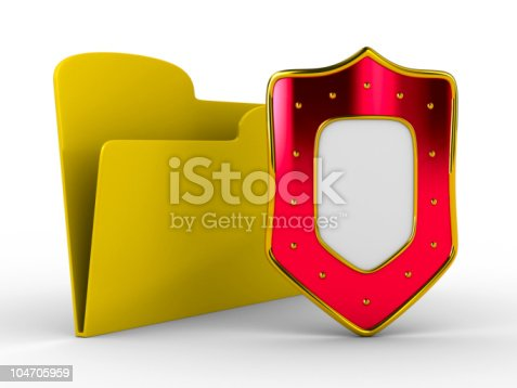 istock Yellow computer folder with shield. Isolated 3d image 104705959