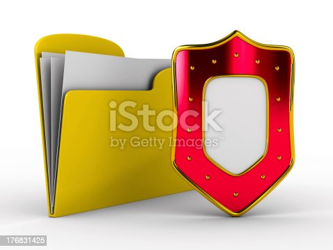 istock Yellow computer folder with shield. Isolated 3d image 176831425