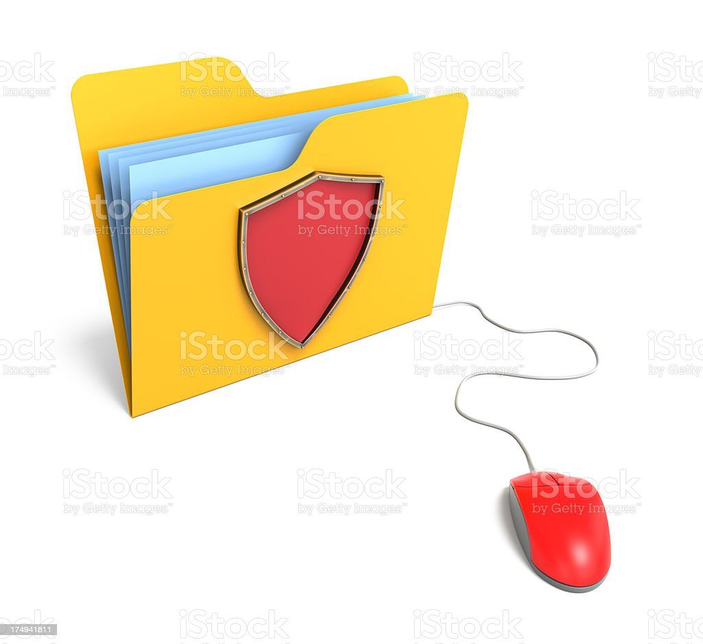 Yellow computer folder with shield royalty-free stock photo