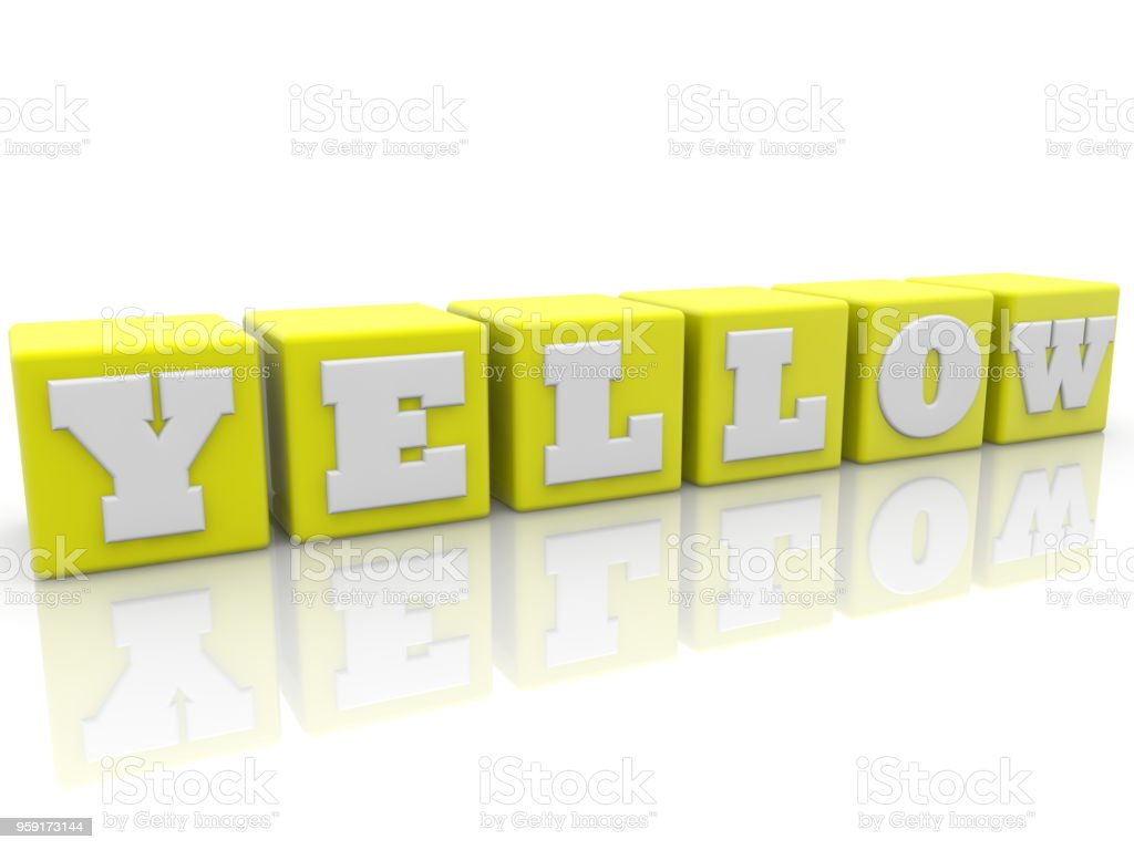 Yellow concept on toy cubes stock photo