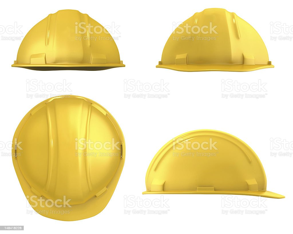 Yellow construction helmet four views isolated royalty-free stock photo