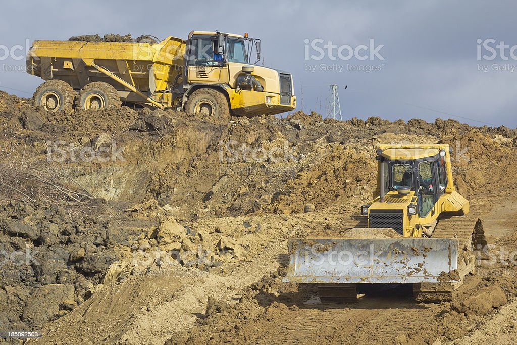 Yellow Construction Vehicles royalty-free stock photo