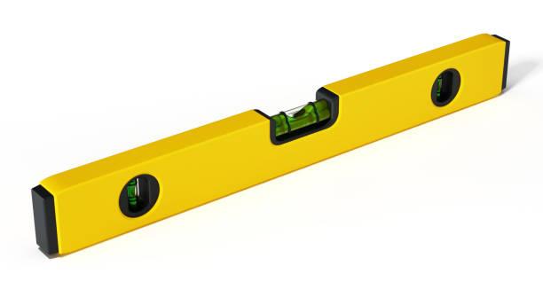 Niveau d'eau construction jaune isolé sur blanc - Photo