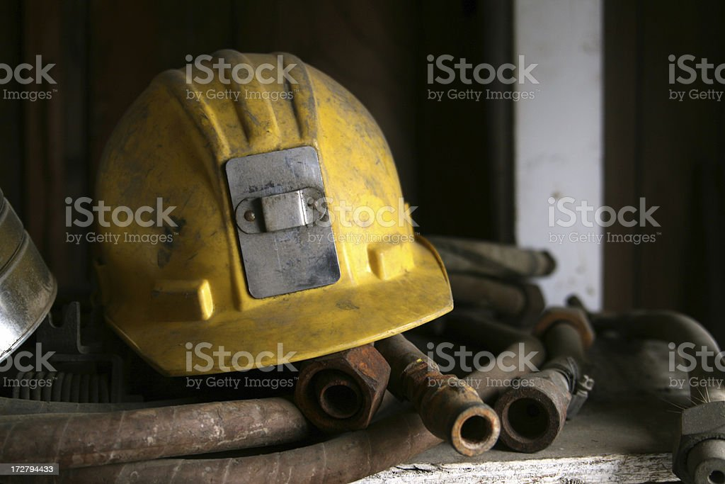 Yellow Construction/Mining Hemet stock photo