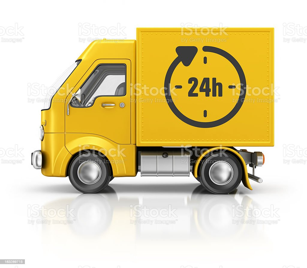 yellow container delivery van royalty-free stock photo
