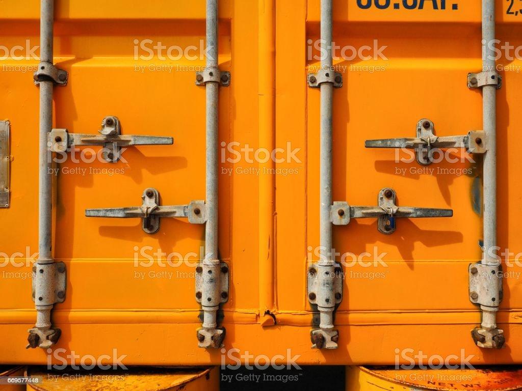 Yellow container door on warehouse stock photo