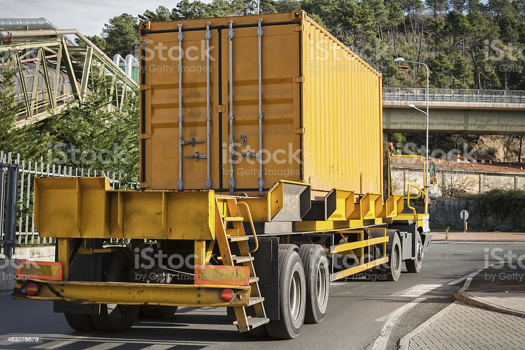 yellow container on truck royalty-free stock photo